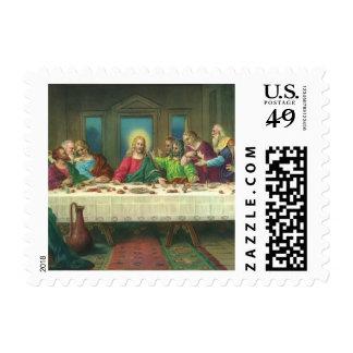 Religión del vintage, última cena con Jesucristo Estampilla