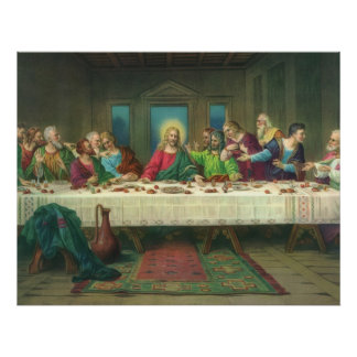 Religión del vintage, última cena con Jesucristo Póster