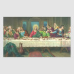 Religión del vintage, última cena con Jesucristo Pegatina Rectangular