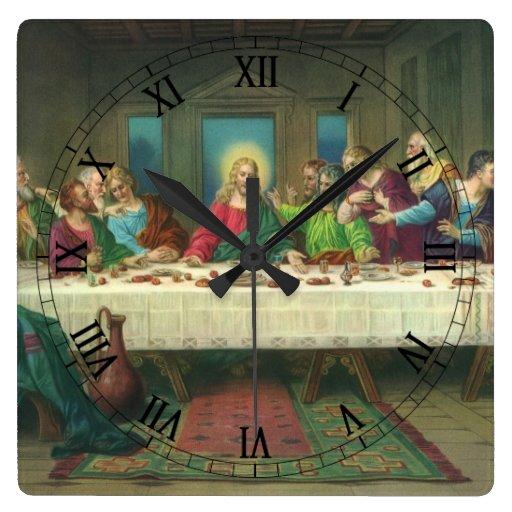 Religión del vintage, última cena con Jesucristo Reloj Cuadrado