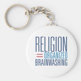 Religión = el lavar el cerebro organizado llavero redondo tipo pin