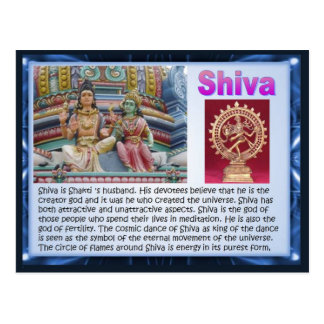 Religion, Indian Hindu Gods, Shiva Post Card