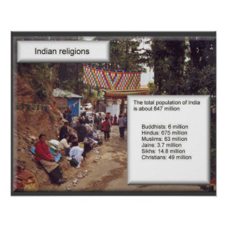Religion, Indian religions, statistics Poster
