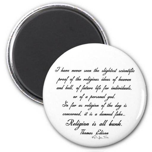 Religion Is Bunk 1 2 Inch Round Magnet