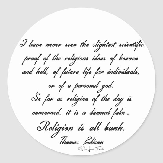 Religion Is Bunk 1 Classic Round Sticker