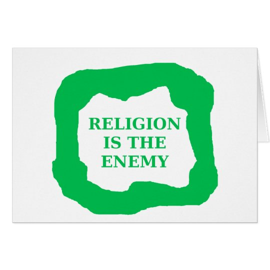 Religion is the enemy, green .png card