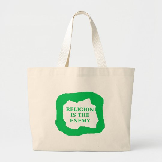 Religion is the enemy, green .png large tote bag