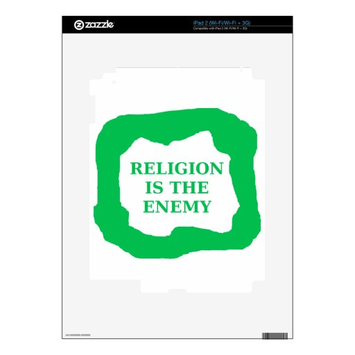 Religion is the enemy, green .png decals for the iPad 2