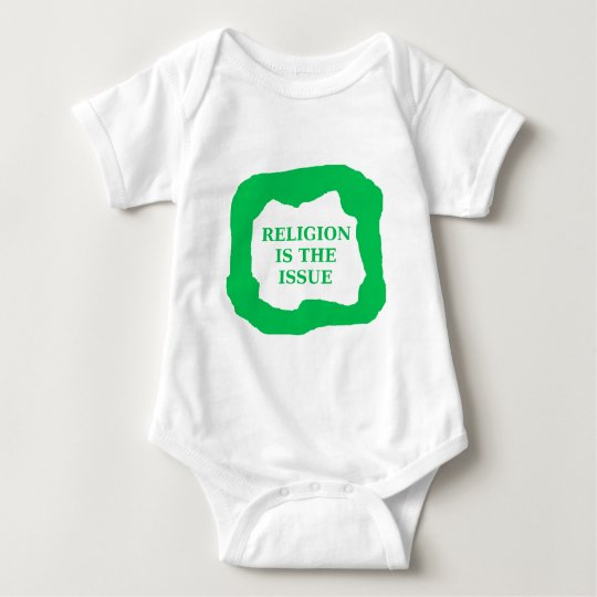 Religion is the issue, green .png baby bodysuit