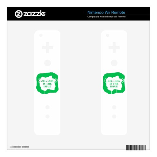 Religion is the issue, green .png decal for the wii remote