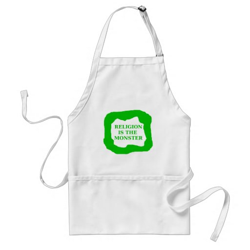 Religion is the monster, green .png adult apron