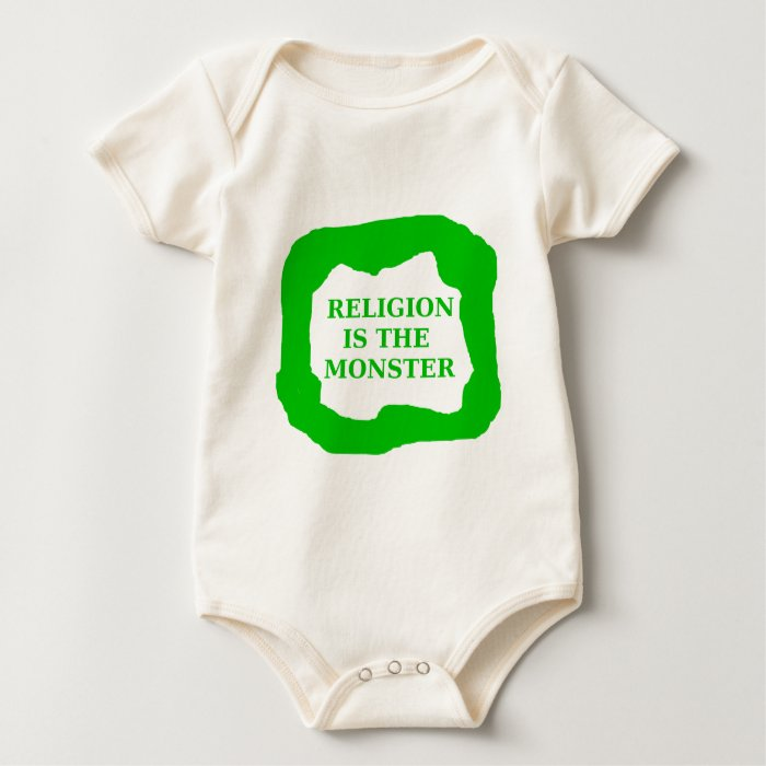 Religion is the monster, green .png baby bodysuit