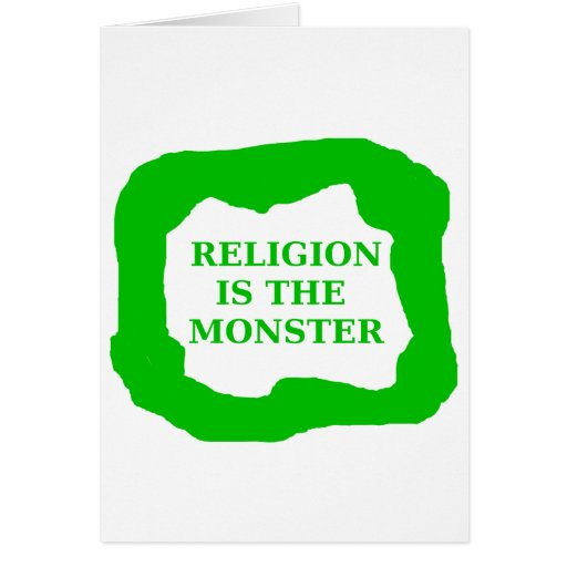 Religion is the monster, green .png card