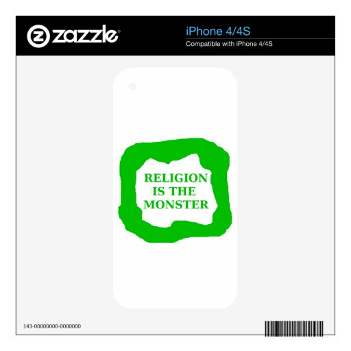 Religion is the monster, green .png skin for iPhone 4S
