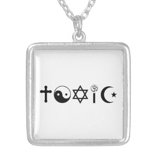 Religion Is Toxic Freethinker Square Pendant Necklace
