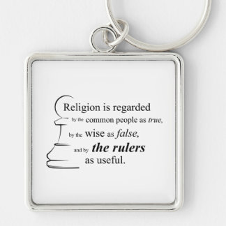 Religion is useful Silver-Colored square keychain