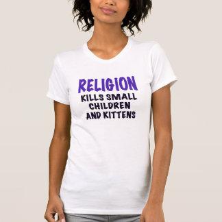 RELIGION KILLS SMALL CHILDREN AND KITTENS, purple, Tee Shirt
