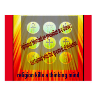 Religion Kills Thinking Minds Postcard