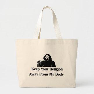 Religión lejos de mi cuerpo bolsa tela grande