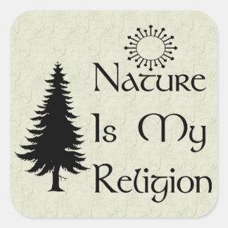 Religión natural pegatina cuadrada