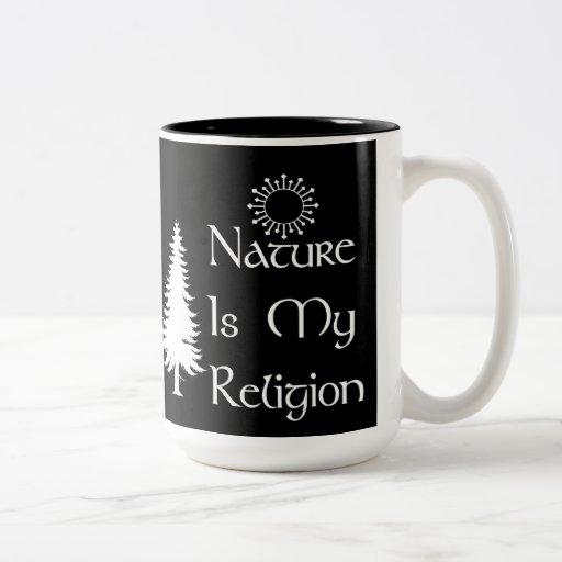 Religión natural taza de café de dos colores