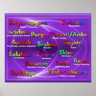 Religión, nombres hindúes de dioses póster
