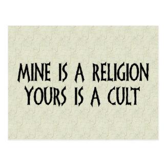 ¿Religión o culto? Postal