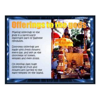 Religión, ofrendas del Balinese a dioses Postal