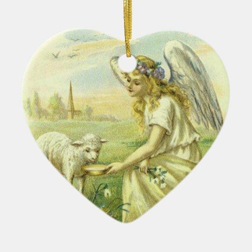 Religión Pascua, ángel del vintage del Victorian Adorno De Cerámica En Forma De Corazón