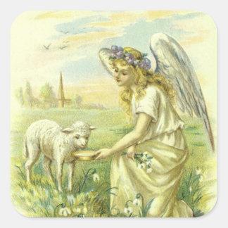 Religión Pascua, ángel del vintage del Victorian Calcomanía Cuadradas Personalizadas
