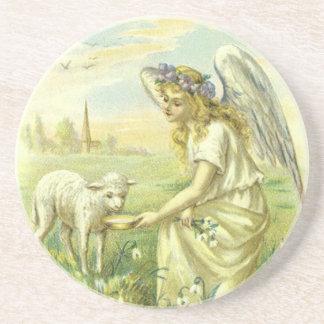 Religión Pascua, ángel del vintage del Victorian Posavasos Manualidades
