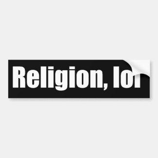 Religión, pegatina para el parachoques del lol pegatina para auto