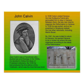 Religión reforma Juan Calvino de la historia Poster