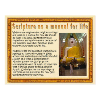 Religion,  Scriptures as a manual for life Postcard
