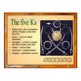 Religion, Sikhism, the Five Ks Postcard
