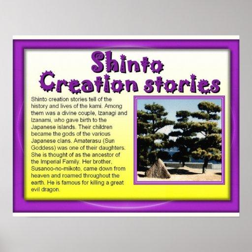 Religión, sintoísta, historias de la creación póster