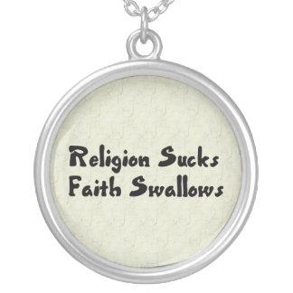 Religion Sucks Faith Swallows Round Pendant Necklace