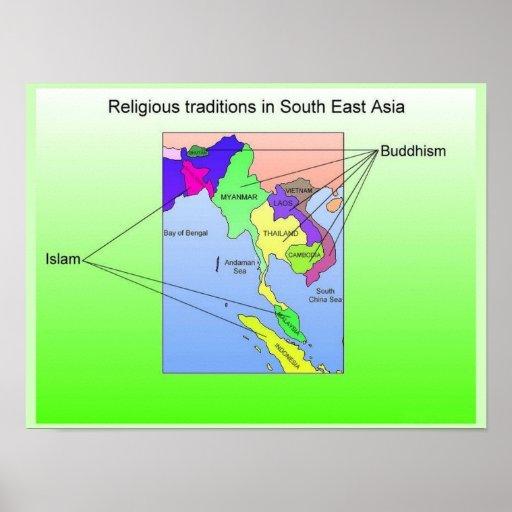 Religión, tradiciones religiosas en Asia sudorient Poster