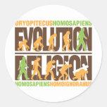 Religion Vs Evolution Round Stickers