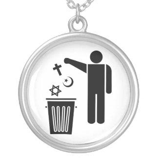 Religion Wastebin Silver Plated Necklace