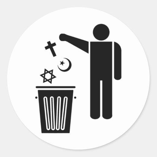 Religion Wastebin Round Sticker