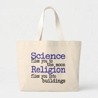 Religión y ciencia bolsa lienzo