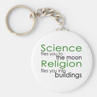 Religión y ciencia llavero redondo tipo pin
