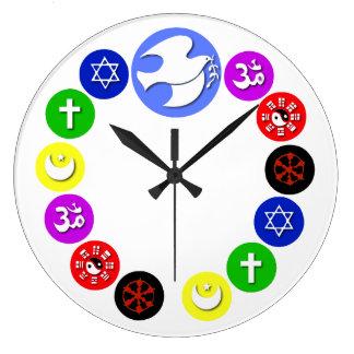 Religiones del mundo en color relojes de pared