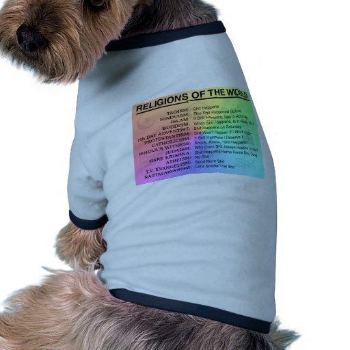 Religiones del mundo - la mierda sucede camisetas de perrito