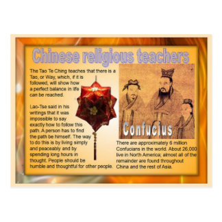 Religiones del mundo, profesores religiosos chinos tarjeta postal