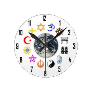 RELIGIONS OF THE WORLD ROUND CLOCKS
