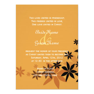 Religion's wedding invitation,fall golden floral card