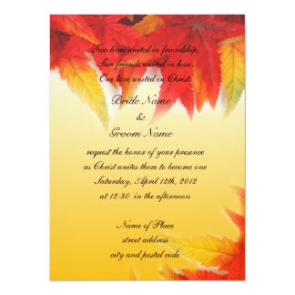 Religion's wedding invitation,fall red leaves personalized announcement