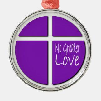 Religioso ninguna mayor cruz del cristiano del adorno redondo plateado